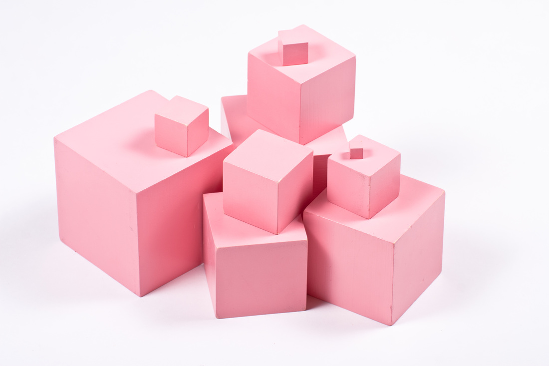 The pink tower is stacked by students, helping them to understand the increasing size of different objects