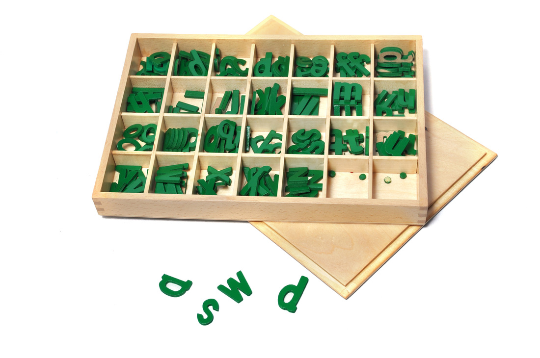 Movable alphabet letters are used to introduce word building to children