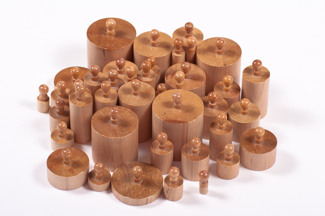Knobbed cylinders are used for children to understand the sizes of different objects